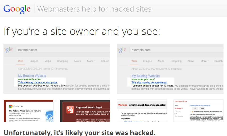 Webmasters help for hacked sites