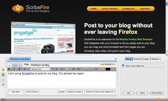فايرفوكس : اضافة ScribeFire لنشر تدويناتك